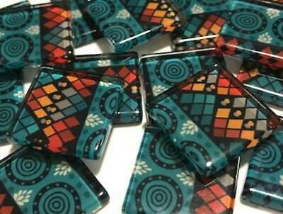 Tribal Inspired Glass Mosaic Tiles 2.5cm Pattern 7 - Art Craft Supplies