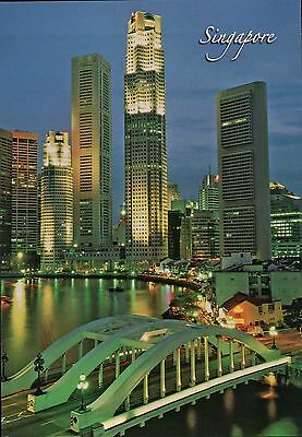 View of Singapore River, Skyscrapers and Old Shop Houses, Bridge, SG -- Postcard