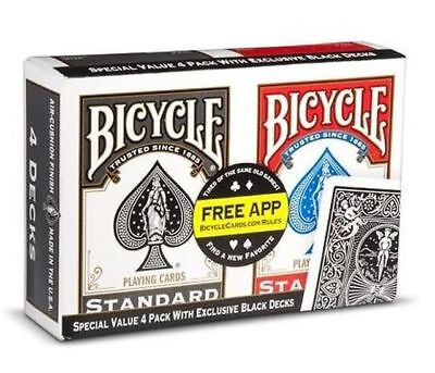 Bicycle Playing Cards Poker Decks. ***Special Value 4 Pack.***.