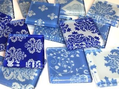 Blue Damask Patterned Glass Tiles 2.5cm