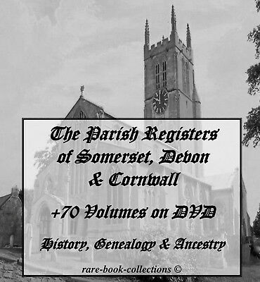 +70 Somerset Parish Registers On Dvd - Genealogy Family History Cornwall Devon