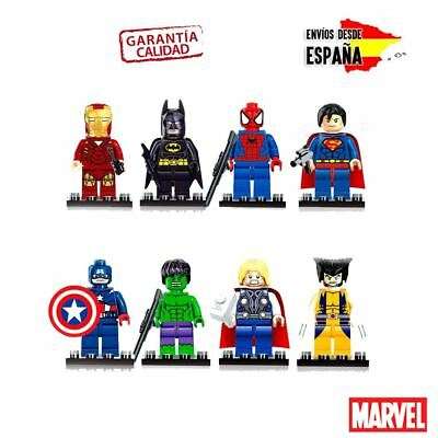 Coleccion Mini Figuras Marvel Lego Thor Spiderman Iron Man Vengadores Hulk