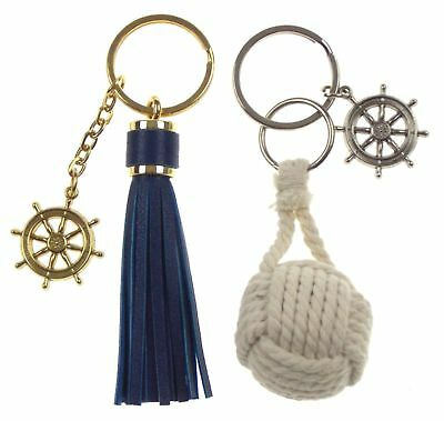 Nautical Theme Ships Wheel Tassel Rope Ball Set of 2 Keychains Key Ring Maritime