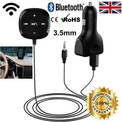 Wireless Bluetooth Audio Stereo Music Receiver Car AUX Adapter USB Charger UK