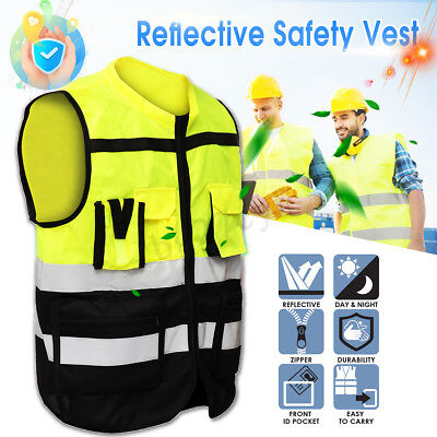 HI VIS Vest Safety Vest Zip Up Reflective Tape Workwear Night Day Use New POCKET