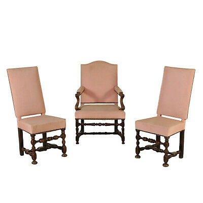 Armchair and Pair of Chairs Walnut Italy First Half of 1700