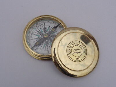 Stanley London Pocket 1885 Compass Vintage Brass Nautical Compass