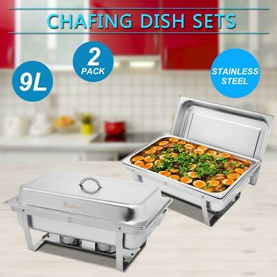 2 PACK CATERING STAINLESS STEEL CHAFER CHAFING DISH SETS 8 QT for Christmas