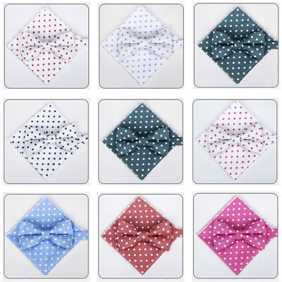 Men Polka Dots Bowtie Handkerchief Wedding Bow Tie Pocket Square Set NEW