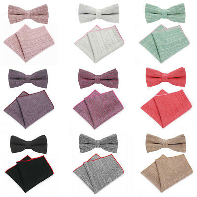 Men Cotton Solid Stripe Pre-tied Bow Tie Pocket Square Set Wedding Necktie Set