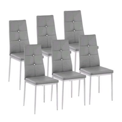 Modern Set of 6 Stunning Dining Side Chairs Leather Dining Room Furniture Grey