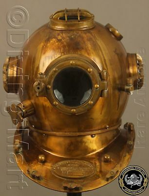 "Antique U.s Navy Mark V Solid Steel & Brass Diving Divers Helmet Full 18"" Dg14"