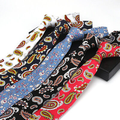 Men Colorful Paisley Printing Neck Tie Cotton Wedding Party Business Necktie