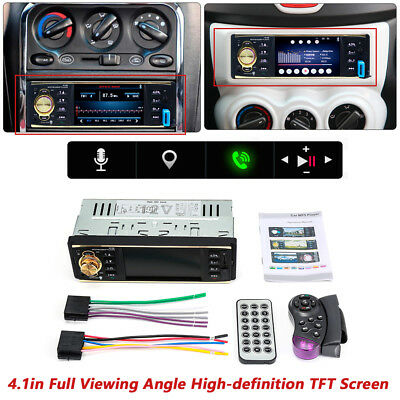 "4.1"" 1DIN Car Stereo Radio Audio Bluetooth SD FM 65dB SNR TFT Screen MP5 Player"