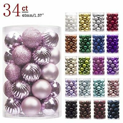 Pink 24ct Christmas Tree Ball Ornaments PASTEL Shatterproof party Decorations Pr