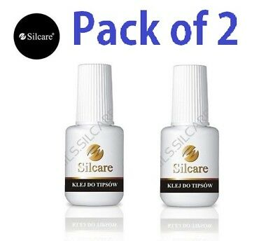 SILCARE BRUSH ON FALSE NAIL TIP ADHESIVE GLUE 7.5g Super Strong - Pack of 2