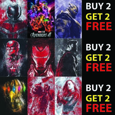 AVENGERS END GAME MARVEL MOVIE CHARACTER POSTER COVERS A4/A3/A2 300/440gsm