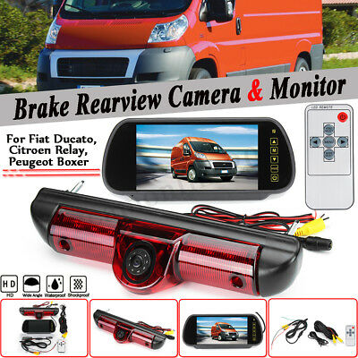 7 Inch Mirror Monitor +Rear Brake Light Reversing Camera For Fiat Ducato Citroen