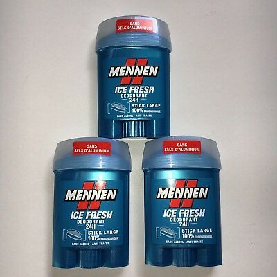 Trois sticks Mennen Déodorant Ice Fresh sans alcool 3 x 50 ml