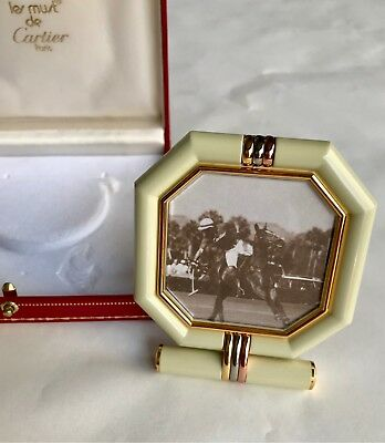 Rare - Les Must De Cartier gold enamelled small vintage photo frame numbered.