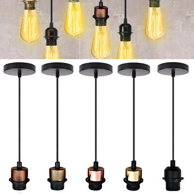 E27 Vintage Light PVC Flex Pendant Lamp Light Colour Holder Ceiling Fitting Kit