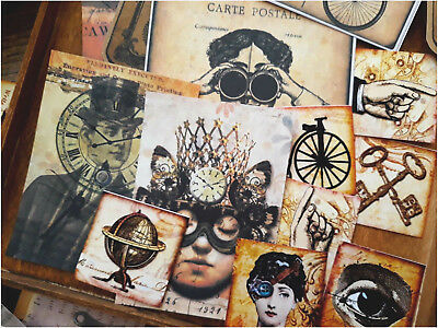 50 Vintage Steampunk Ephemera Gypsy Bohemia Scrapbook kits,journal card
