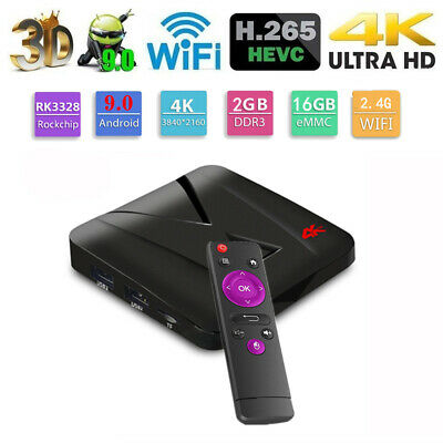 MX10 Mini TV Box 4K Media Player Android 9.0 RK3328 Quad Core 2GB+16GB USB WiFi