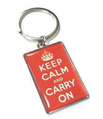 Keep Calm And Carry On Knitting Red – Keyring