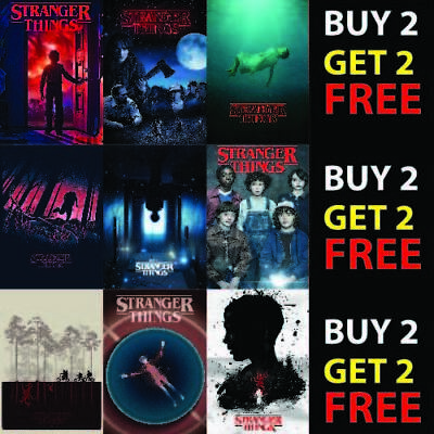 STRANGER THINGS POSTERS   TV SERIES SHOW   ART DECOR A4 A3 - 300gsm Paper/Card