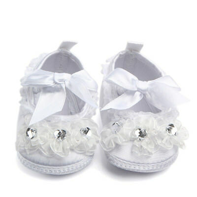 Baby Girls Toddler Baptism Christening Shoes Soft Sole White Infant Slippers