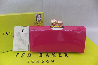68812d523bc6ff Ted Baker Kimmiko Etched Bobble Leather Matinee Purse New Boxed Deep Pink