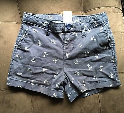 Faded Glory Girls Shorts Blue With White Anchors Size 10