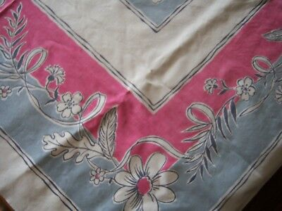 "Vintage 1950s MCM Tablecloth Pinks & Gray Straight Edge 50 x 46"" Pristine"