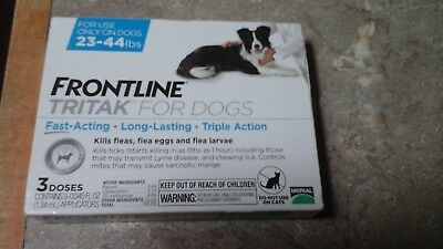 FRONTLINE TRITAK Flea & Tick for M dogs 23-44 lbs 3-dose **SEALED NEW IN BOX**