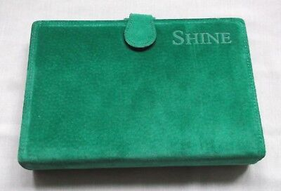 File Organiser Leather NEW BRIGHT GREEN SUEDE PERSONAL LONDON WALLET DIARY CARDS