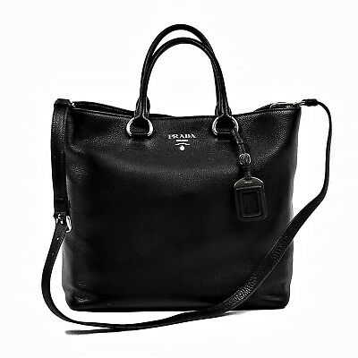 PRADA 1BG044 WOMEN S Vitello Phenix Leather Convertible Bag Black ... ce5f31d0c2