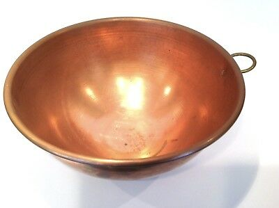"""Vintage Copper Mixing Bowl with Brass Ring Large Heavy 12"""" Diameter"""