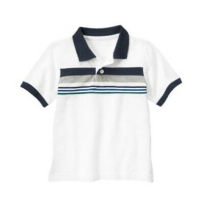 NWT Gymboree SPACE VOYAGER White Navy Gray Teal Striped Polo Shirt Top Sz12 NEW