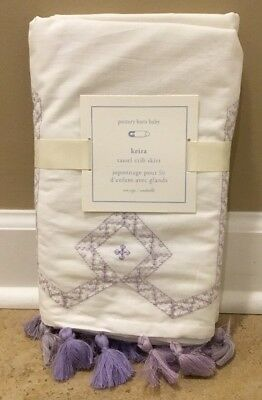 NEW Pottery Barn Kids Keira Tassel Crib Skirt VIOLET + WHITE