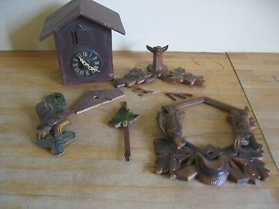 Vintage Black Forest Style Carved Wooden Wood Cuckoo Clock - Spares or Repair