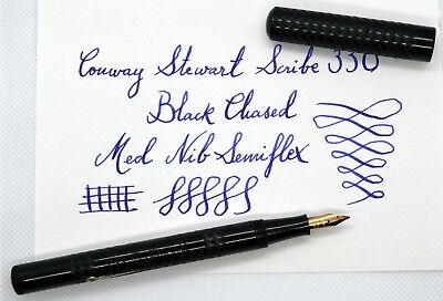 Vintage Conway Stewart Scribe 330 (1931-42) Fountain Pen; Black Chased. 135 Mm.