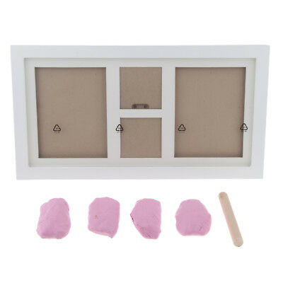 Baby Hand Print Footprint Non-toxic Ink Pad Wood Rectangle Photo Frame Pink