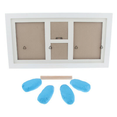Baby Hand Print Footprint Non-toxic Ink Pad Wood Rectangle Photo Frame Blue