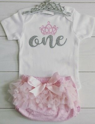 Baby Girls Cake Smash First 1st Birthday Outfit Tutu Knickers Pink Tiara Set One