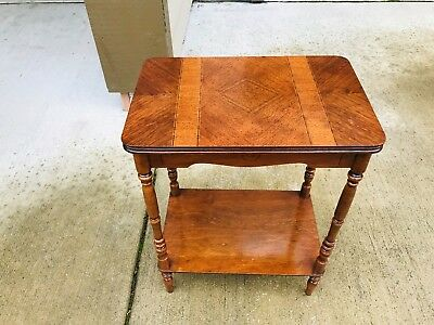 Beautiful Antique Victorian Walnut Inlaid Side End Table Sold As Is