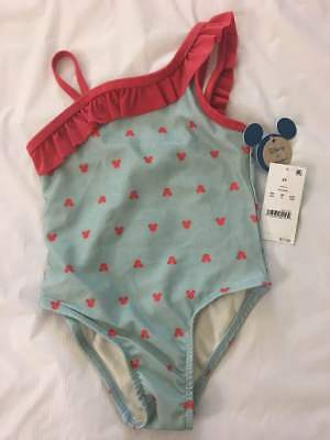 9728b2639d Toddler Girls  Disney Mickey Mouse Ruffle One Piece Swimsuit Aqua Red -  Size 2T