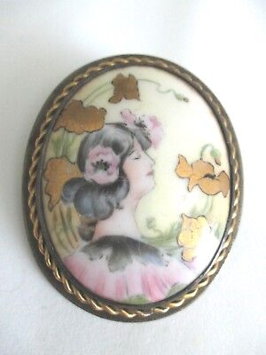 Antique Art Nouveau Hand Painted Porcelain Pin Brooch Beautiful Woman Poppies