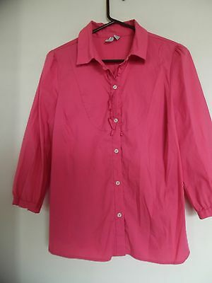 5e075140 Old Navy Women's 3/4 Sleeve Coral Button Down Top /Shirt Blouse Size L