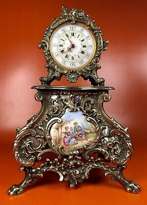Very Fine Antique clock | Silver 800 | Mother pearl | Painted ceramics | Luis XV