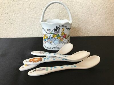 Alice in Wonderland Cafe Teaspoons Tea Set Basket Holder Caddy Porcelain Spoons